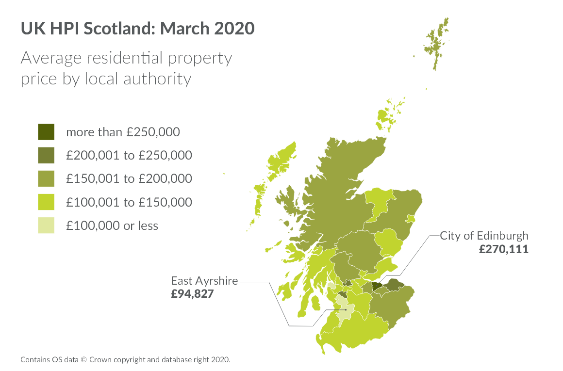 Average residential property price by local authority on map