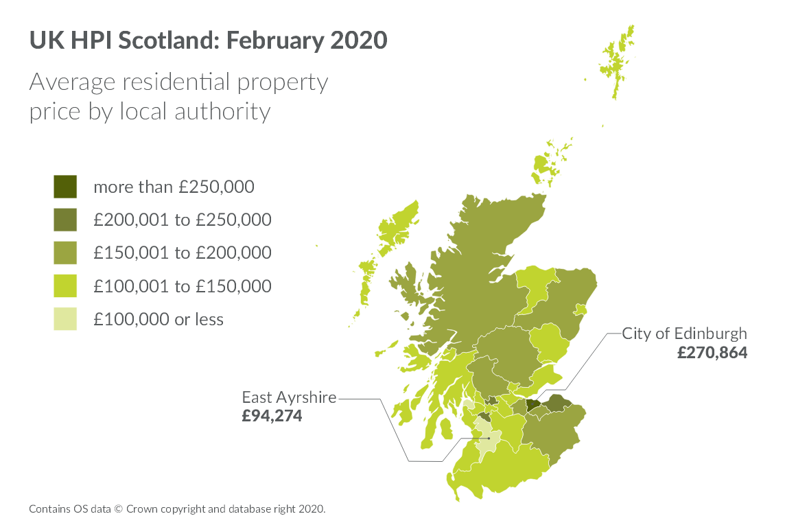 Map showing average residential property price by local authority in February 2020