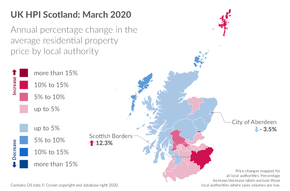 Annual percentage change in the average residential property price by local authority shown on map