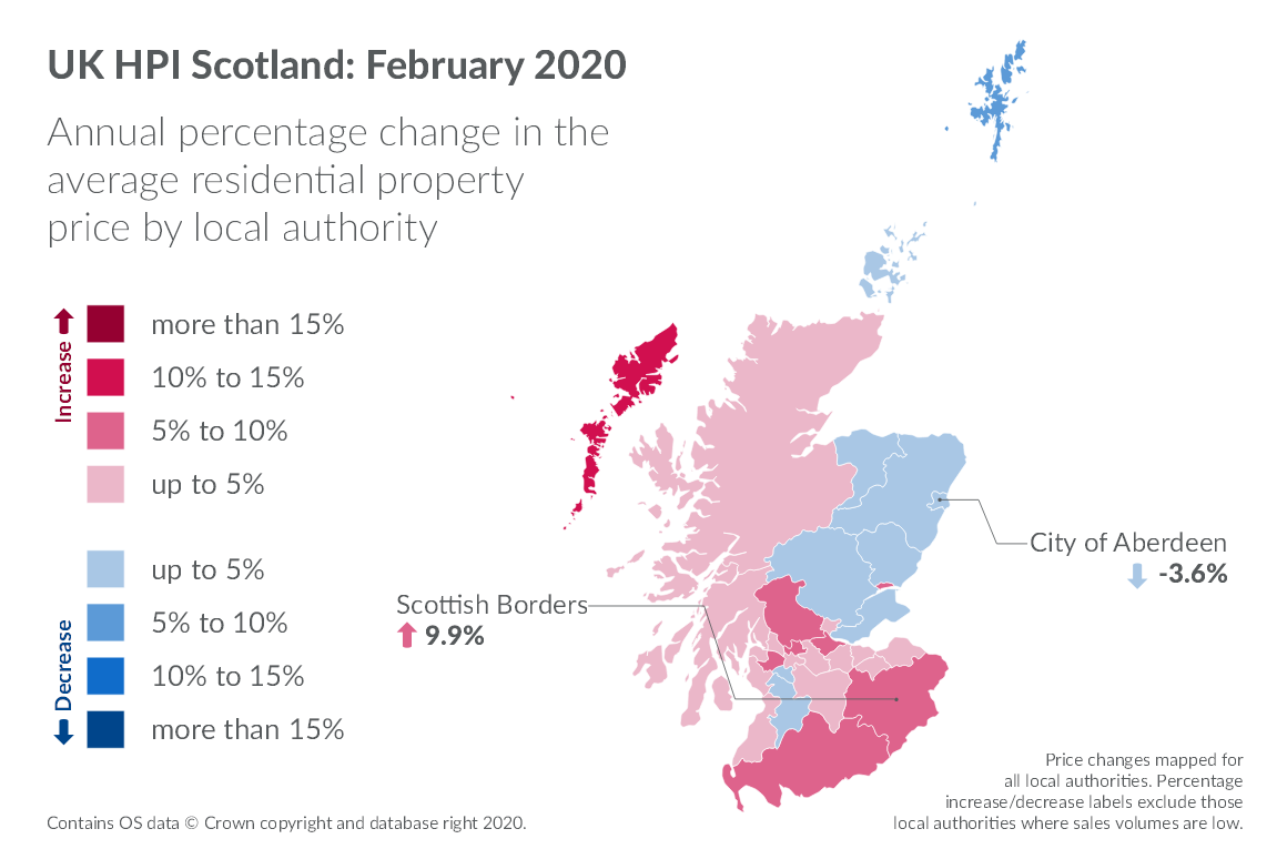 Map showing annual percentage change in the average residential property price by local authority in february 2020