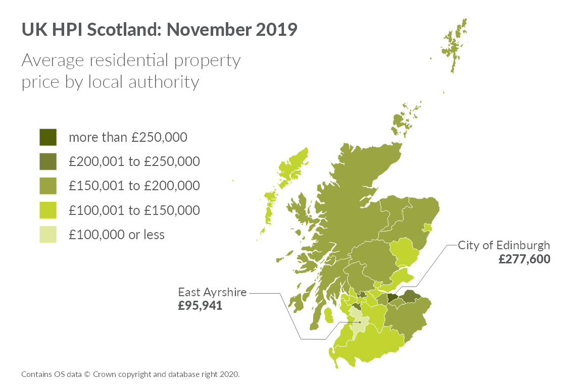 Map showing average residential property price by local authority for November 2019